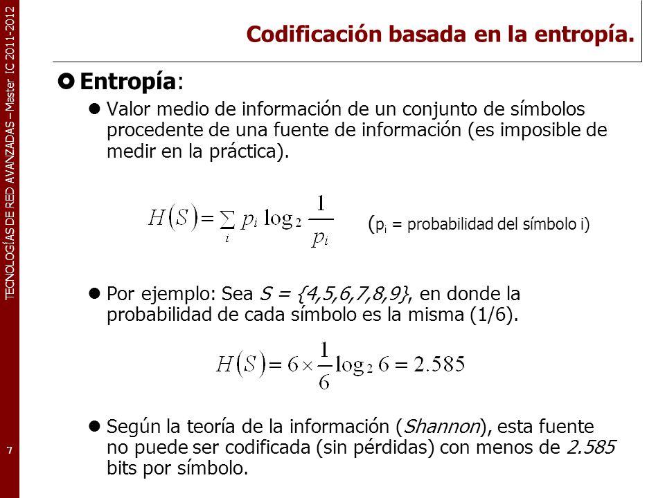 TECNOLOGÍAS DE RED AVANZADAS – Master IC 2011-2012 Statistical encoding Trata de identificar los símbolos (patrones de bits) que más se repiten en el conjunto de datos de entrada.