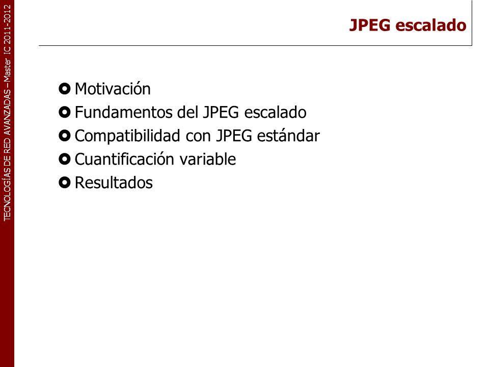TECNOLOGÍAS DE RED AVANZADAS – Master IC 2011-2012 Motivación Utilización de tamaño de bloque mayor: NxN.