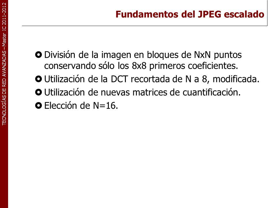 TECNOLOGÍAS DE RED AVANZADAS – Master IC 2011-2012 El proceso de codificación/decodificación JPEG escalado Bloques de 16x16 Imagen IDCT 16x168x8 a 16x16 Descuanti-Decodifica.