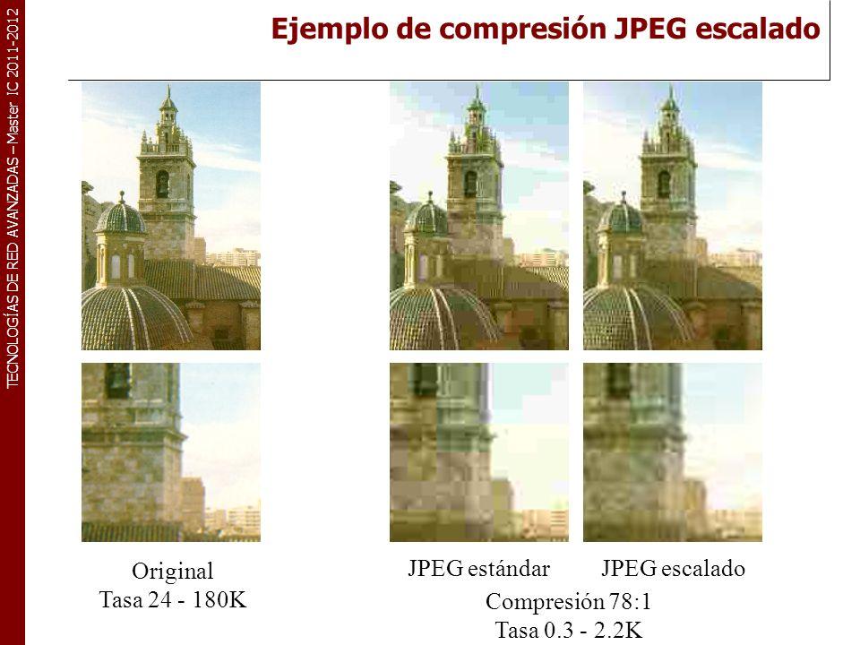TECNOLOGÍAS DE RED AVANZADAS – Master IC 2011-2012 Original Tasa 24 - 180K Compresión 128:1 Tasa 0.18 - 1.4K JPEG estándarJPEG escalado Ejemplo de compresión JPEG escalado (continuación)
