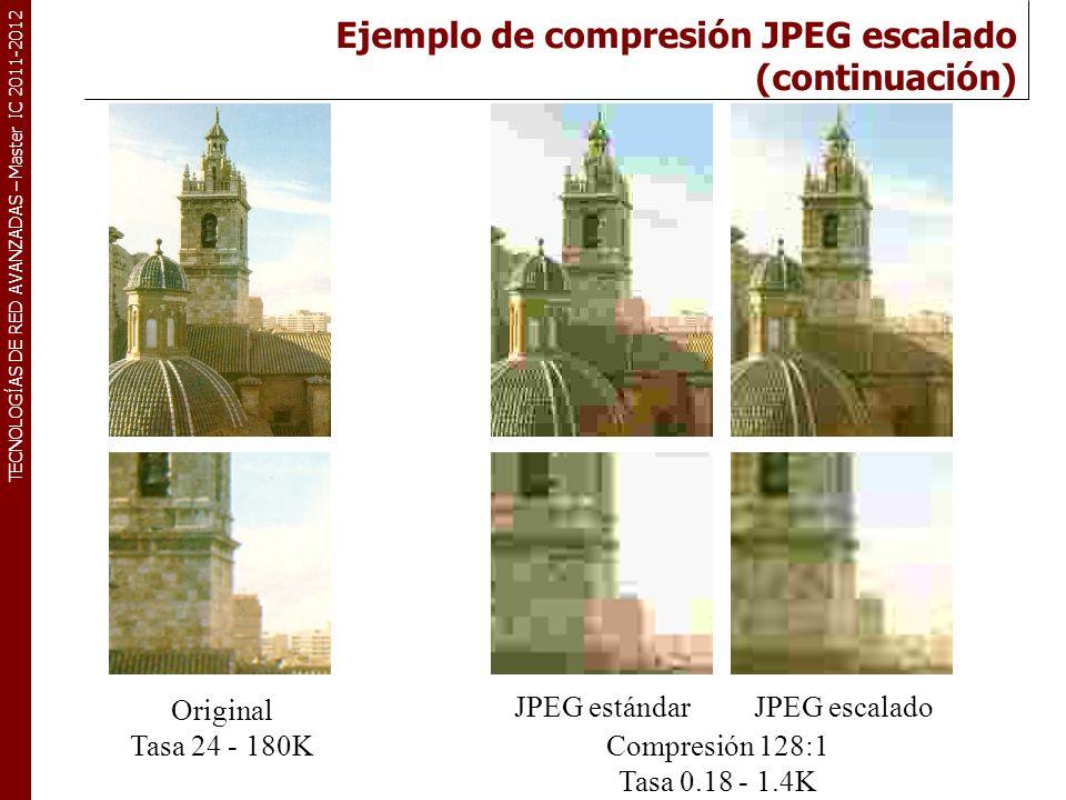 TECNOLOGÍAS DE RED AVANZADAS – Master IC 2011-2012 Compatibilidad con JPEG estándar Aunque el bloque de imagen es de 16x16 el de coeficientes es de 8x8 puntos.