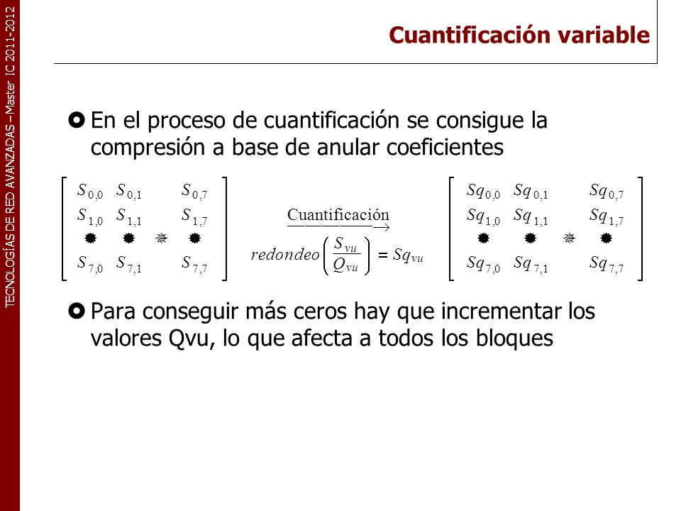 TECNOLOGÍAS DE RED AVANZADAS – Master IC 2011-2012 Cuantificación variable: propuesta Utilización de una función de cuantificación con umbral.