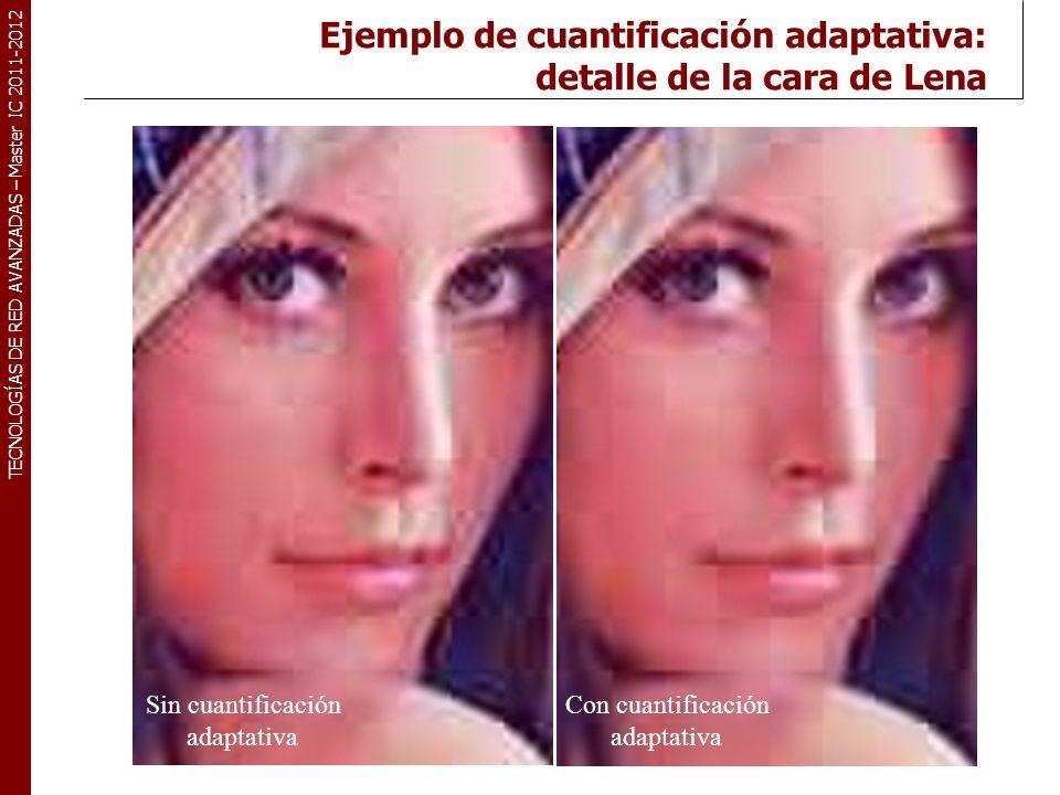 TECNOLOGÍAS DE RED AVANZADAS – Master IC 2011-2012 Ejemplo de cuantificación adaptativa: detalle del sombrero de Lena Sin cuantificación adaptativa Con cuantificación adaptativa