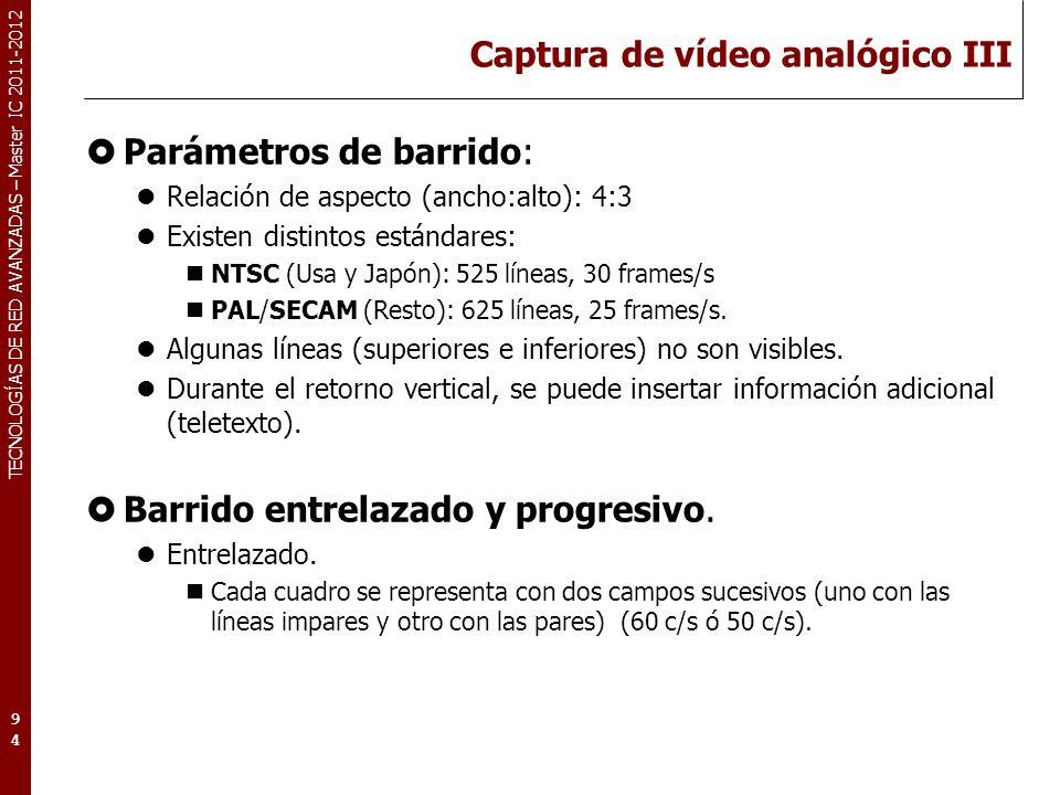TECNOLOGÍAS DE RED AVANZADAS – Master IC 2011-2012 Captura de vídeo analógico IV Parpadeo de imagen (flicker) Efecto que aparece cuando la imagen no es refrescada con suficiente rapidez.