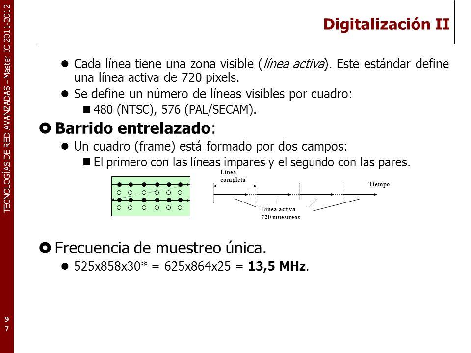 TECNOLOGÍAS DE RED AVANZADAS – Master IC 2011-2012 Digitalización III Codificación y recodificación.