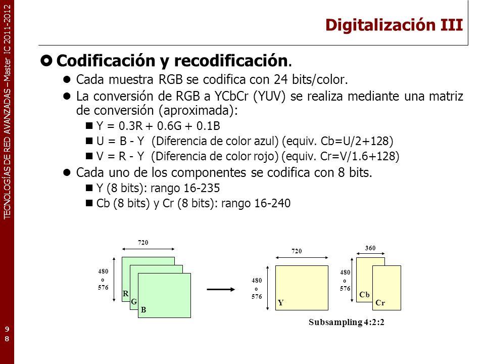 TECNOLOGÍAS DE RED AVANZADAS – Master IC 2011-2012 Codificación: RGB 99