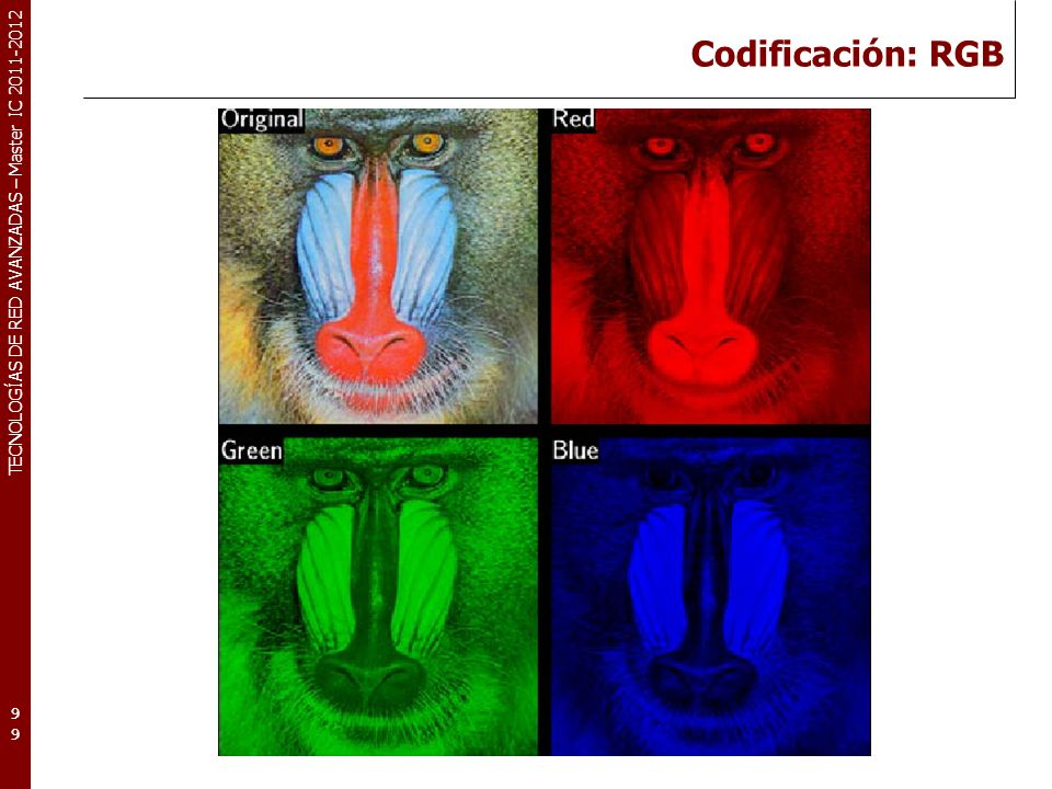 TECNOLOGÍAS DE RED AVANZADAS – Master IC 2011-2012 Codificación: YCbCr 100100100