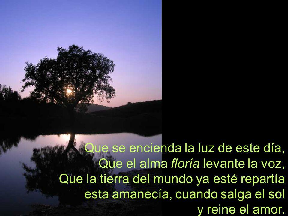 Que se encienda la luz de este día, Que el alma floría levante la voz, Que la tierra del mundo ya esté repartía esta amanecía, cuando salga el sol y reine el amor.