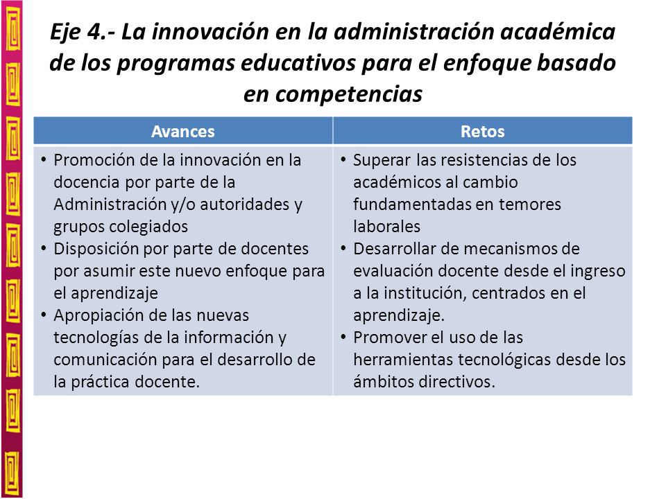 Eje 5.- La investigación sobre las competencias para la innovación educativa AvancesRetos Propuestas de evaluación sustentadas en investigación científica más que en la administración.