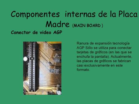 Componentes internas de la Placa Madre (MAIN BOARD )