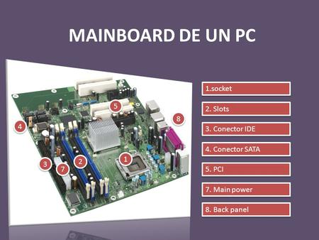 MAINBOARD DE UN PC 1 1 8 8 5 5 4 4 3 3 2 2 7 7 2. Slots 3. Conector IDE 4. Conector SATA 5. PCI 7. Main power 8. Back panel 1.socket.