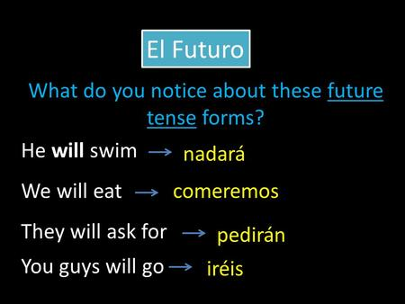 He will swim We will eat They will ask for nadará comeremos pedirán El Futuro You guys will go iréis What do you notice about these future tense forms?