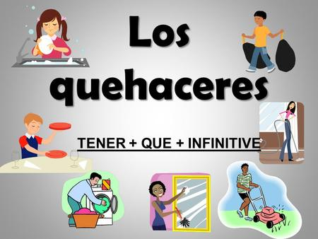 Los quehaceres TENER + QUE + INFINITIVE. There are 3 special steps to saying what someone HAS to DO something.. TENER + QUE + INFINITIVE.