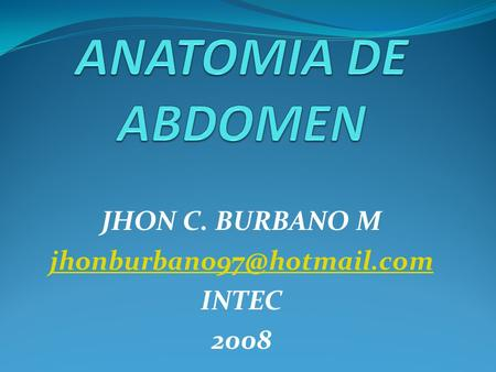 JHON C. BURBANO M INTEC 2008.