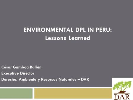 ENVIRONMENTAL DPL IN PERU: Lessons Learned César Gamboa Balbín Executive Director Derecho, Ambiente y Recursos Naturales – DAR.