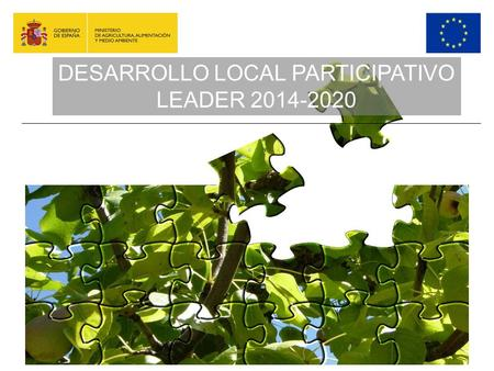 DESARROLLO LOCAL PARTICIPATIVO-LEADER DESARROLLO LOCAL PARTICIPATIVO LEADER 2014-2020.