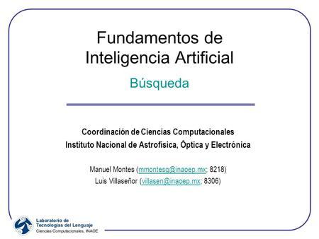 Fundamentos de Inteligencia Artificial Búsqueda