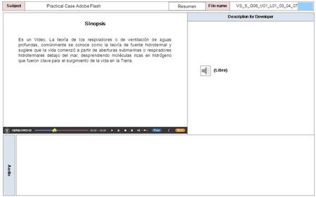 Description for Developer Audio SubjectLO File name Practical Case Adobe Flash Sinopsis Resumen (Libre) VS_S_G06_U01_L01_03_04_07 Es un Video, La teoría.