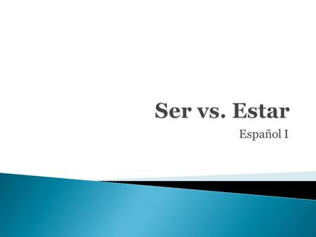 Español I. In Spanish- there are two verbs that both mean to be that is Ser & Estar. The difference is that SER refers to things that are permanent and.