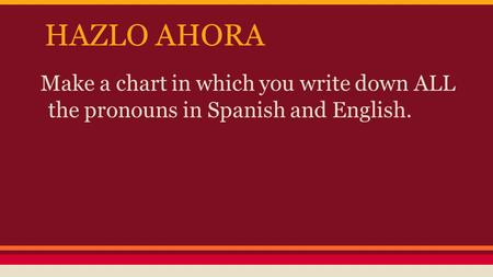 HAZLO AHORA Make a chart in which you write down ALL the pronouns in Spanish and English.