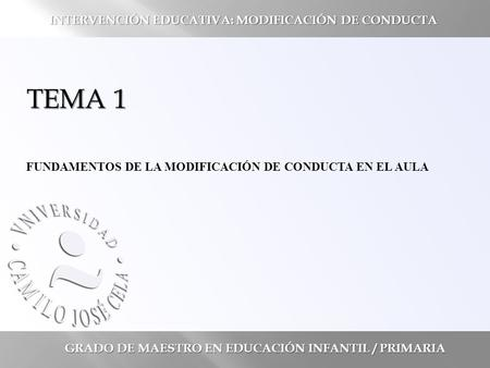 TEMA 1 INTERVENCIÓN EDUCATIVA: MODIFICACIÓN DE CONDUCTA