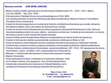 Resumen curricular      JOSE ANGEL SANCHEZ