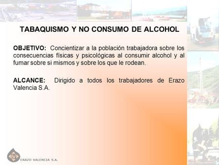 TABAQUISMO Y NO CONSUMO DE ALCOHOL