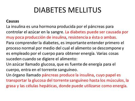 DIABETES MELLITUS Causas