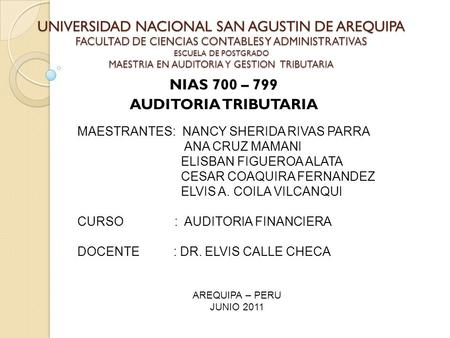 NIAS 700 – 799 AUDITORIA TRIBUTARIA