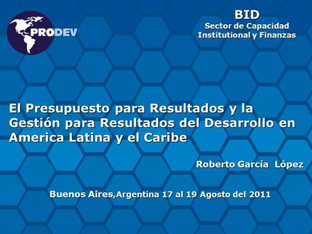 BID Sector de Capacidad  Institutional y Finanzas