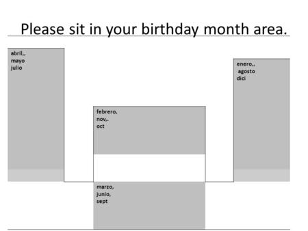 Please sit in your birthday month area. abril,, mayo julio enero,, agosto dici febrero, nov,. oct marzo, junio, sept.