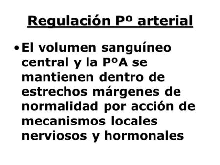 Regulación Pº arterial