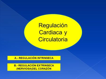 Regulación Cardiaca y Circulatoria B.- REGULACIÓN EXTRINSECA (NERVIOSA)DEL CORAZÓN A.- REGULACIÓN INTRINSECA.