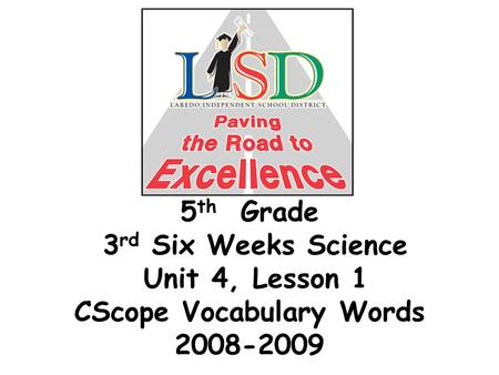 5 th Grade 3 rd Six Weeks Science Unit 4, Lesson 1 CScope Vocabulary Words 2008-2009.