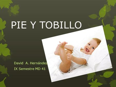 PIE Y TOBILLO David A. Hernández IX Semestre MD 41.