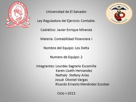 Universidad de El Salvador Ley Reguladora del Ejercicio Contable