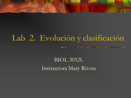 Lab 2. Evolución y clasificación BIOL 3052L Instructora Mary Rivera.