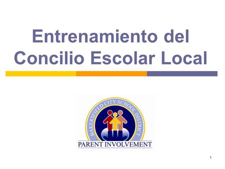 1 Entrenamiento del Concilio Escolar Local 2 SSC training will include:  Responsabilidad  Consejo composición  Oficia  Rules of Order  Records 
