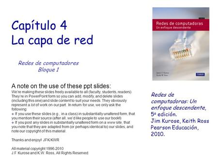 Capítulo 4 La capa de red A note on the use of these ppt slides: We're making these slides freely available to all (faculty, students, readers). They're.