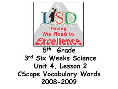 5 th Grade 3 rd Six Weeks Science Unit 4, Lesson 2 CScope Vocabulary Words 2008-2009.