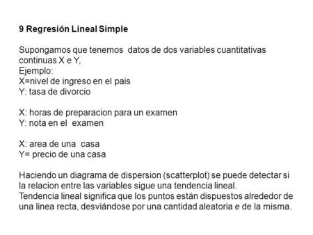 9 Regresión Lineal Simple