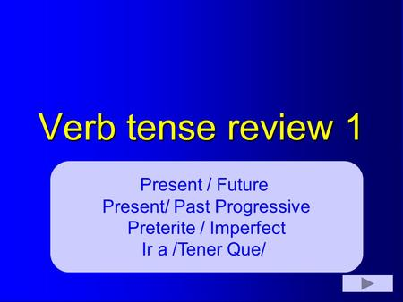 Verb tense review 1 Present / Future Present/ Past Progressive Preterite / Imperfect Ir a /Tener Que/
