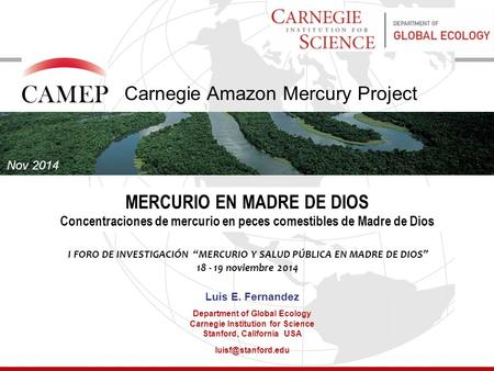 CAMEP Carnegie Amazon Mercury Project MERCURIO EN MADRE DE DIOS