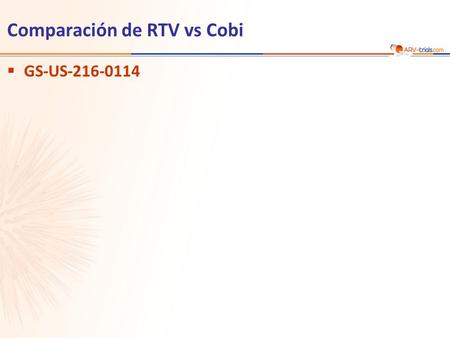 Comparación de RTV vs Cobi  GS-US-216-0114. Gallant JE. JID 2013;208:32-9 GS-US-216-0114  Diseño  Objetivo –No inferioridad de COBI comparado con RTV.