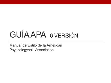 Manual de Estilo de la American Psychologycal Association