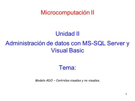 Administración de datos con MS-SQL Server y Visual Basic
