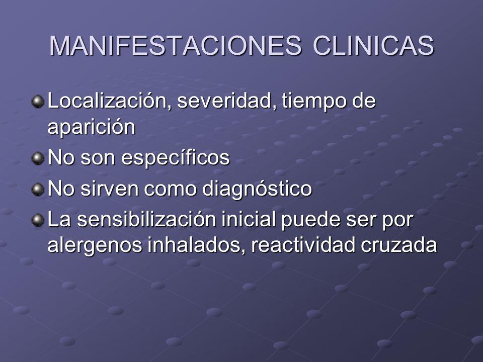 MANIFESTACIONES CLINICAS Localización, severidad, tiempo de aparición No son específicos No sirven como diagnóstico La sensibilización inicial puede ser por alergenos inhalados, reactividad cruzada
