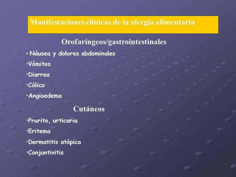 Manifestaciones clínicas de la alergia alimentaria Orofaríngeos/gastrointestinales Náusea y dolores abdominales Vómitos Diarrea Cólico Angioedema Cutáneos Prurito, urticaria Eritema Dermatitis atópica Conjuntivitis