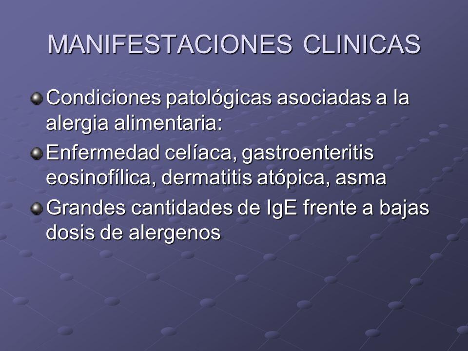 MANIFESTACIONES CLINICAS Condiciones patológicas asociadas a la alergia alimentaria: Enfermedad celíaca, gastroenteritis eosinofílica, dermatitis atópica, asma Grandes cantidades de IgE frente a bajas dosis de alergenos