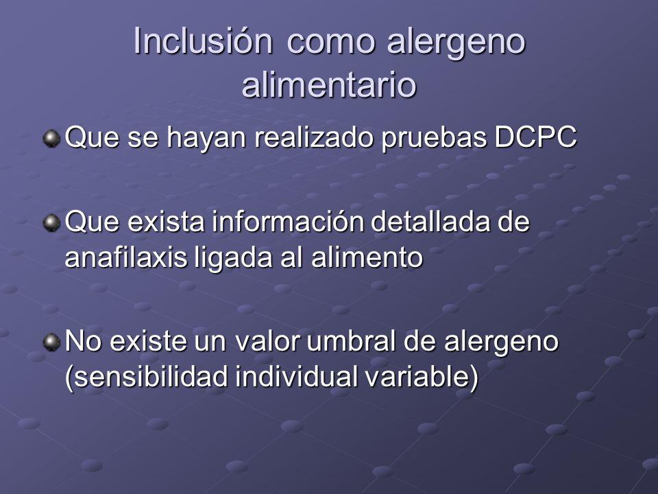 Inclusión como alergeno alimentario Que se hayan realizado pruebas DCPC Que exista información detallada de anafilaxis ligada al alimento No existe un valor umbral de alergeno (sensibilidad individual variable)